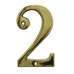 Numer 2 - 5cm mosiężny