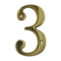 Numer 3 - 5cm mosiężny