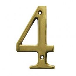Numer 4 - 10cm mosiężny