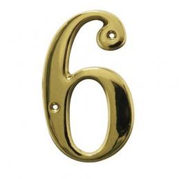 Numer 6 - 5cm mosiężny