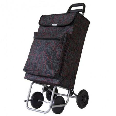 Wózek na zakupy termos mod.5 48l czarny  w czerwone wzory